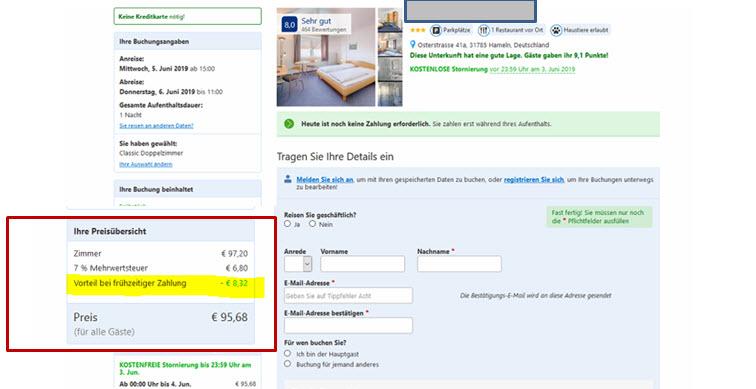 Der Early Payment Discount von booking.com