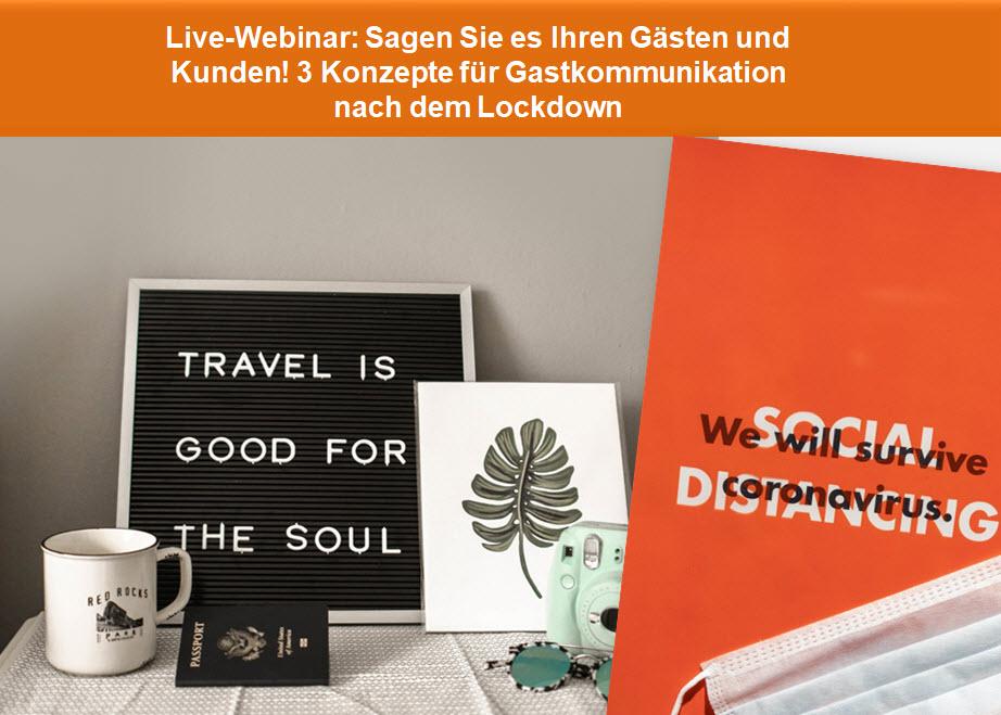 Live-Web-Seminar: Sagen Sie es Ihren Gästen und Kunden! Konzepte für die Kommunikation mit Gästen nach dem Lockdown